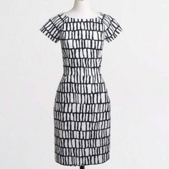 J. Crew Factory Dresses & Skirts - J Crew White Black Short-sleeve Dress, 10